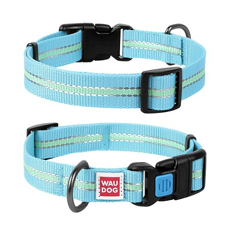 Ошейник для собак Waudog Nylon светящийся средний Синий