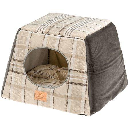 Домик для кошек Ferplast Edinburgh трансформер с двухсторонней подушкой Коричневый