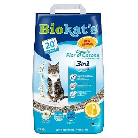 Наполнитель для кошек Biokats Классик 3в1 с ароматом хлопка 5кг