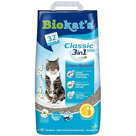 Наполнитель для кошек Biokats Классик Фреш 3в1 с ароматом хлопка 10л