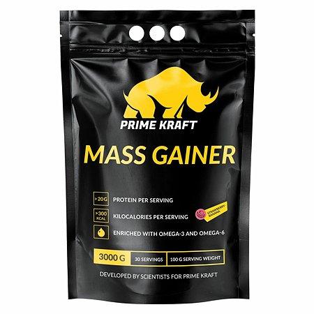 Гейнер Mass Gainer Prime Kraft белковый-углеводный клубника-банан 3000г