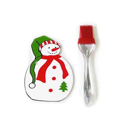 Новогодний кулинарный набор Fiolento Снеговик (подставка, лопатка, кисточка)
