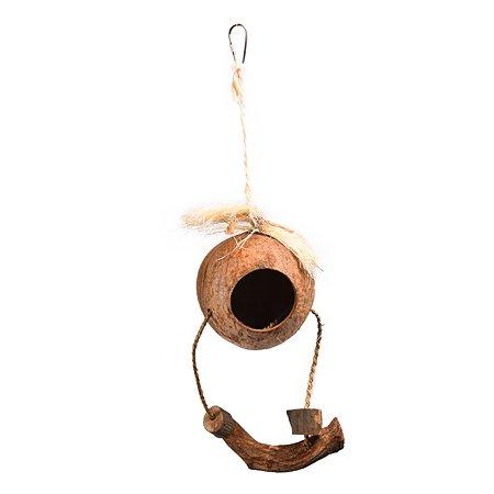 Домик для птиц FAUNA Кокос с жердочкой на подвесе FIBT-2054
