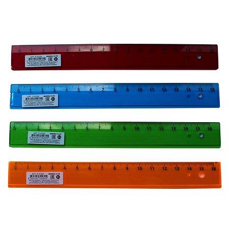 Линейка Prof Press прозрачная 16см в ассортименте Л-9284