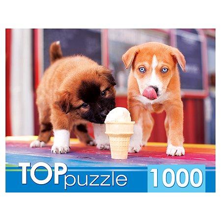 Пазлы 1000 элементов Рыжий кот TOPpuzzle Щенки и мороженое ГИТП1000-2144