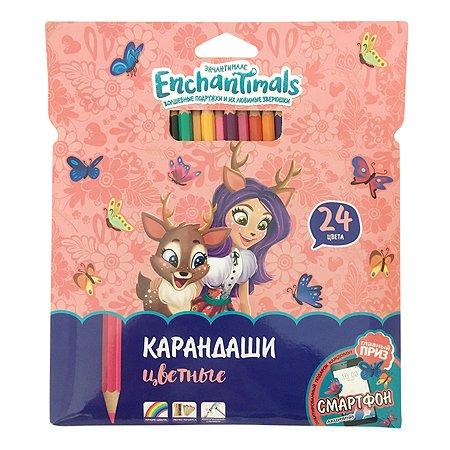 Карандаши цветные Barbie Enchantimals 24 цвета 0706278