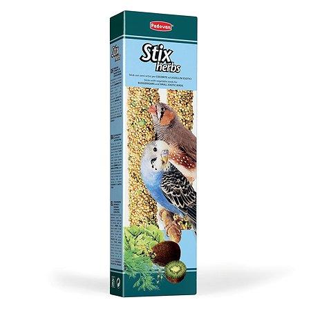 Лакомство для попугаев и экзотических PADOVAN Stix Палочки антистрессовые с травами 0.08кг