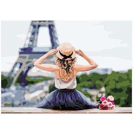 Холст для рисования по номерам Рыжий кот Париж у её ног Х-6551