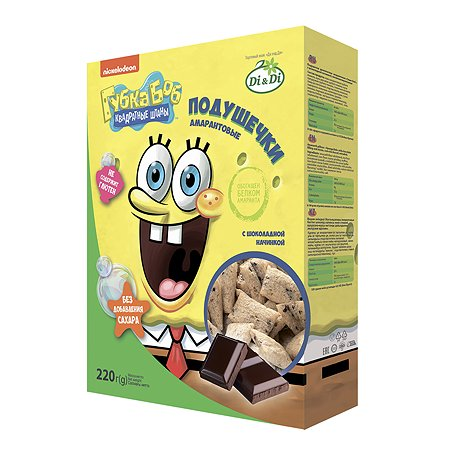 Подушечки Sponge Bob амарантовые с шоколадной начинкой 220г