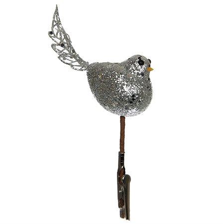 Елочное украшение House of Seasons на прищепке Птичка Серебро