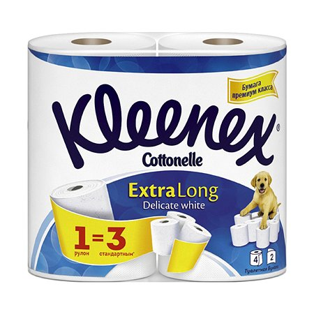 Туалетная бумага Kleenex экстра лонг 2слоя 4рулона
