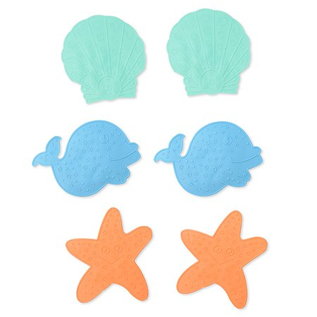 Мини-коврики против скольжения для ванной Clippasafe (6 штук в упаковке)  зеленый/голубой