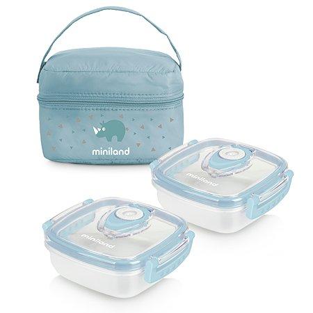 Термосумка Miniland Pack 2 Go HermifFresh с двумя контейнерами голубая Miniland
