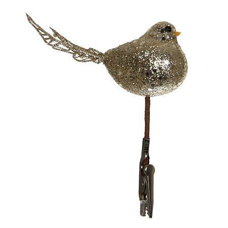 Елочное украшение House of Seasons на прищепке Птичка Золото