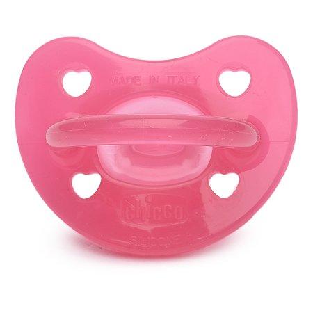 Пустышка Chicco Physio Soft 1шт 6-12мес сил.розовая