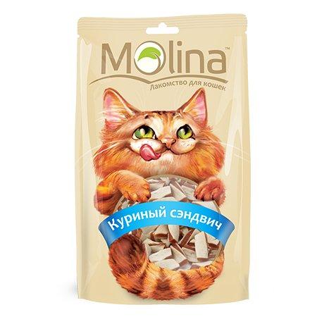 Лакомство для кошек Molina куриный сэндвич 80г