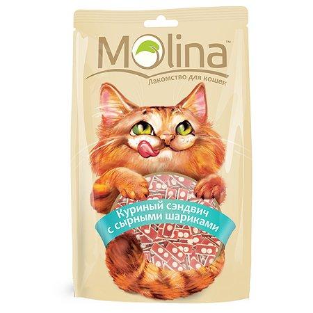 Лакомство для кошек Molina куриный сэндвич с сырными шариками 80г