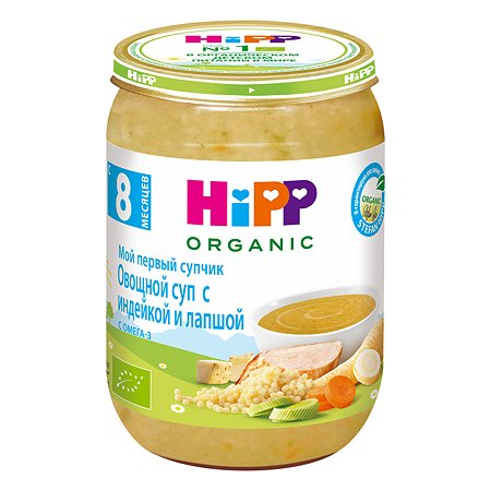 Суп Hipp овощной с индейкой-лапшой 190г с 8месяцев