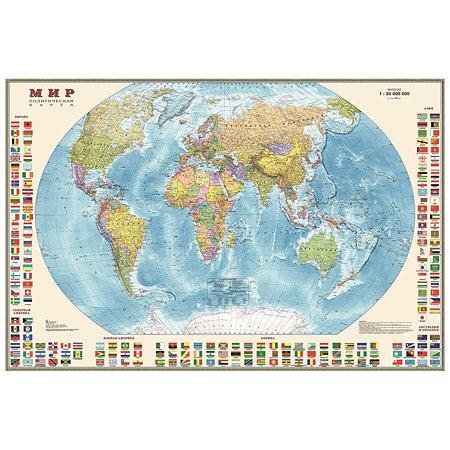 Политическая карта мира Ди Эм Би с флагами 1:30М настен. лам