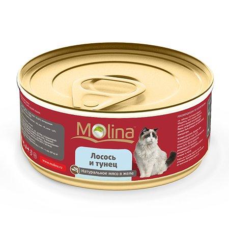 Корм влажный для кошек Molina 80г лосось с тунцом в желе