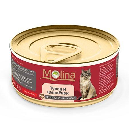 Корм влажный для кошек Molina 80г тунец с цыпленком в желе