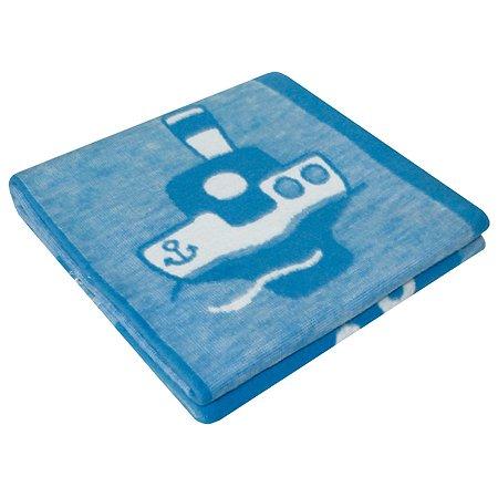 Одеяло байковое Ермошка Кораблики Синее 57-8 ЕТЖ
