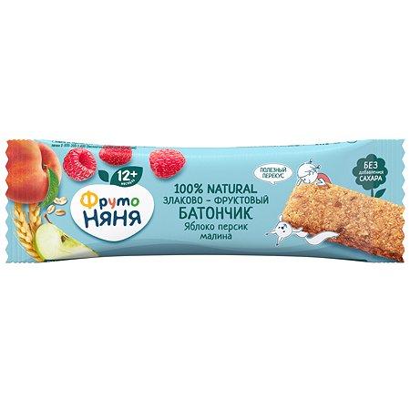 Батончик ФрутоНяня яблоко-персик-малина-злаки 25г с12месяцев
