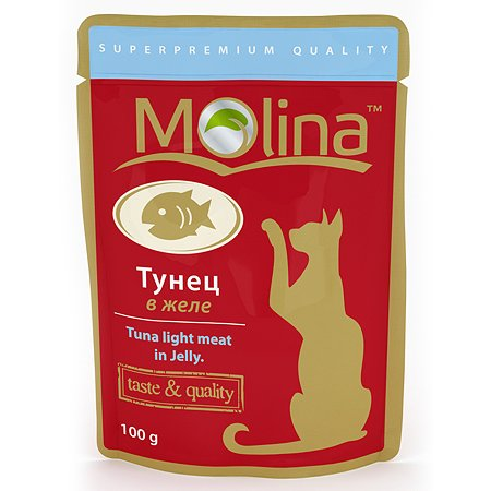 Корм влажный для кошек Molina 100г тунец в желе пауч