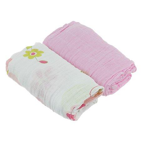 Пеленки муслиновые 2шт. ОТК Розовая+белая с рисунком 115х115 (100% хлопок)
