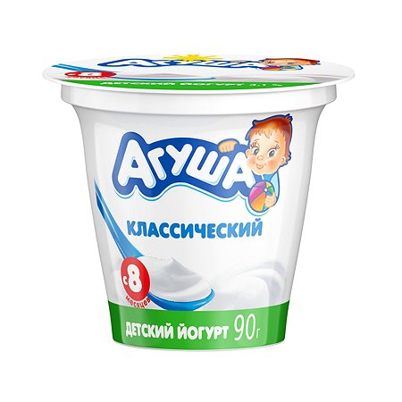 Йогурт Агуша натуральный 3.1% 90г с 8месяцев