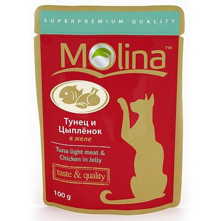Корм влажный для кошек Molina 100г тунец с цыпленком в желе пауч