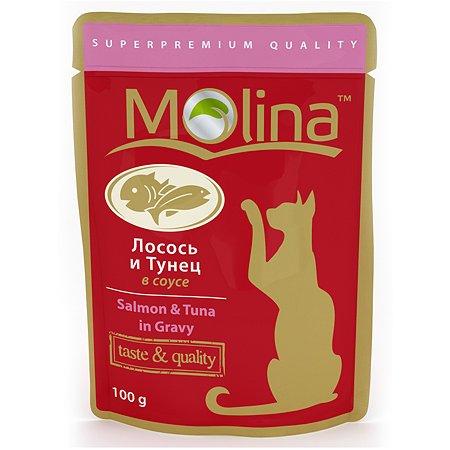 Корм влажный для кошек Molina 100г лосось с тунцом в соусе пауч