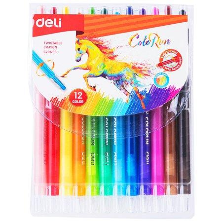 Мелки восковые Deli Colorun 12цветов EC20403