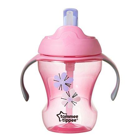 Чашка-непроливайка Tommee tippee с трубочкой 230мл с 6месяцев Розовая 44701587-1