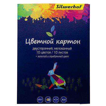 Картон цветной Silwerhof А4 10цветов 10л 1102300