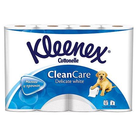 Туалетная бумага Kleenex Деликат Уайт 2 слоя 12 рулонов Белая