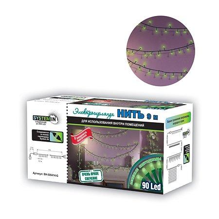 Электрогирлянда Нить 9 м 90 зеленых  светодиодов для использования внутри помещений B&H Нить 9 м 90 зеленых  светодиодов