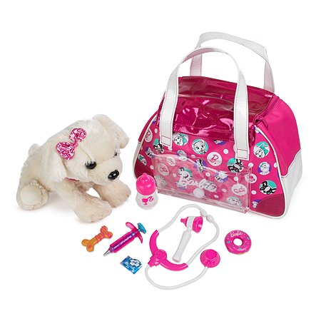 Интерактивный щенок Barbie Дружи и лечи (бежевый) в сумочке