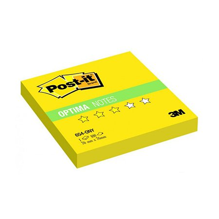 Стикеры Post-it 3M 654-ONY  Optima Лето желтый неон 76х76мм 100л
