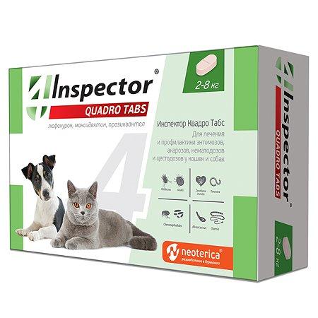 Таблетки для кошек и собак Inspector Quadro Tabs 2-8кг