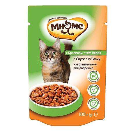 Корм влажный для кошек Мнямс 100г с кроликом в соусе с чувствительным пищеварением для взрослых пауч