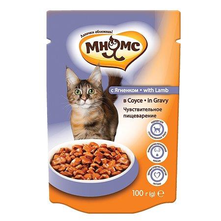 Корм влажный для кошек Мнямс 100г с ягненком в соусе с чувствительным пищеварением для взрослых пауч