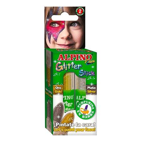 Аквагрим ALPINO Glitter Stick с блестками Золотой-Серебряный DL000083
