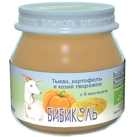 Пюре Бибиколь тыква-картофель-козий творог 80г с 6месяцев