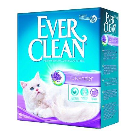 Наполнитель для кошек EVER CLEAN Lavender аромат лаванды комкующийся 6л