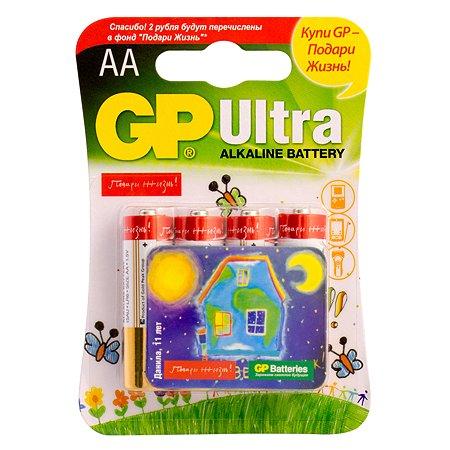 "Батарейки GP Ultra алкалиновые (щелочные) тип АА (LR6) 4 шт ""Подари жизнь"""