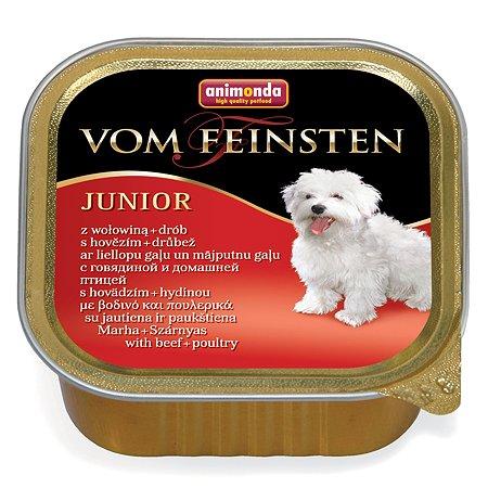 Корм для щенков ANIMONDA Vom Feinsten Junior с говядиной и мясом домашней птицы консервированный 150г