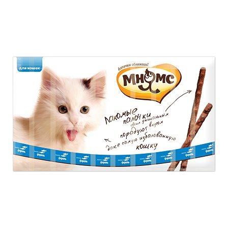 Лакомство для кошек Мнямс лакомые палочки с лососем и форелью 5г 10шт