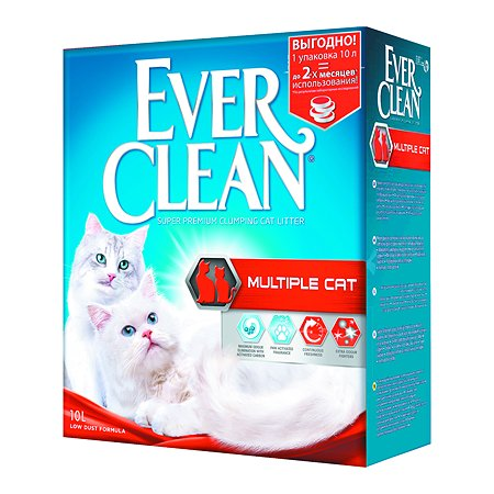 Наполнитель для кошек EVER CLEAN Multiple Cat комкующийся 10л 59654