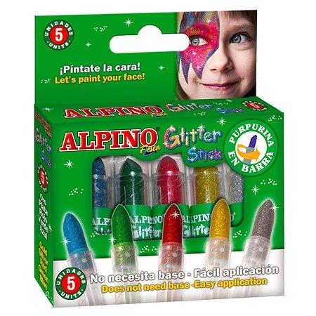Аквагрим ALPINO Glitter Stick с блест 5 цв